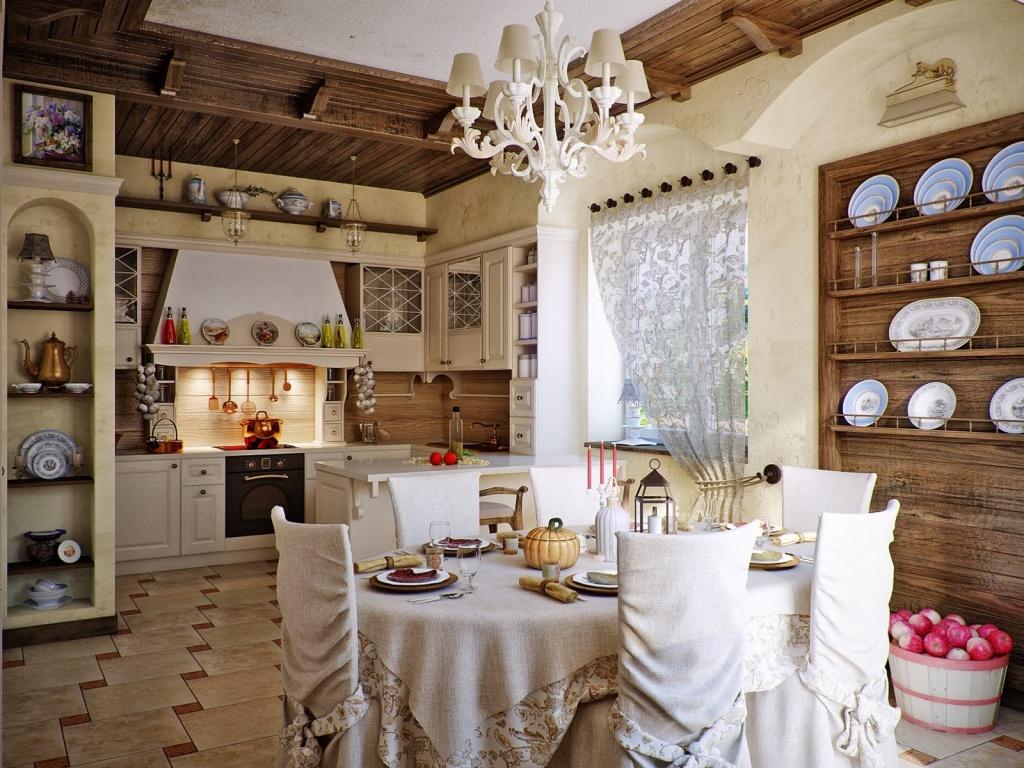 Богатый кухонный декор в стилизации прованса – французского кантри