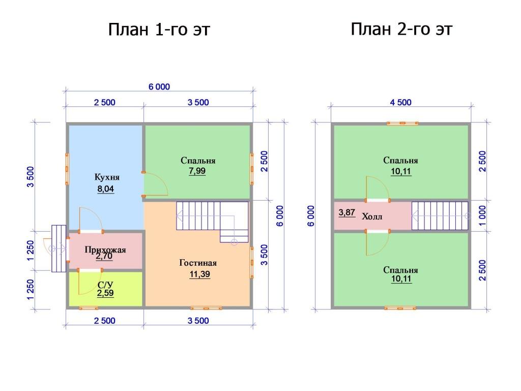 Планировка двухэтажного дома с двумя спальнями на мансардном этаже