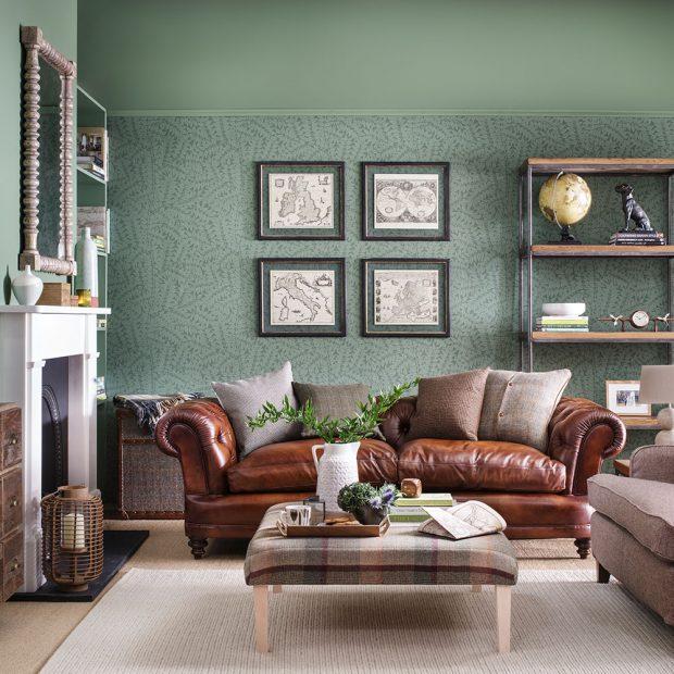 Сдержанный цвет мятного оттенка и уютная мягкая мебель