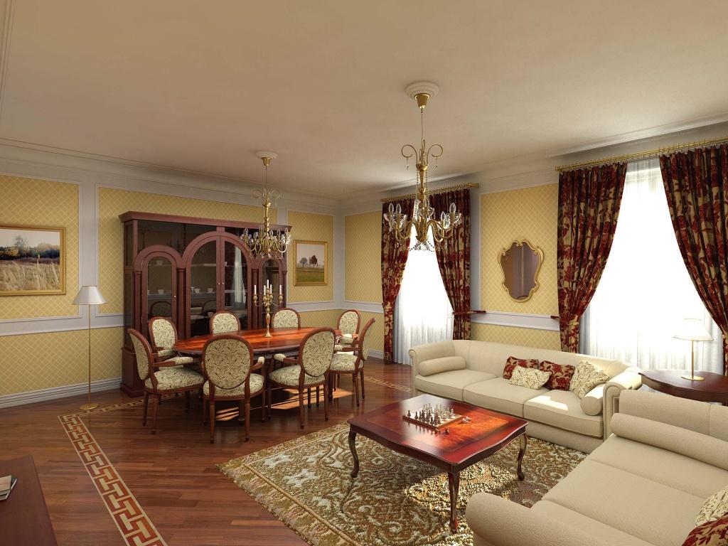 Пример зонирования в классической гостиной – выделены зона отдыха и обеденная зона
