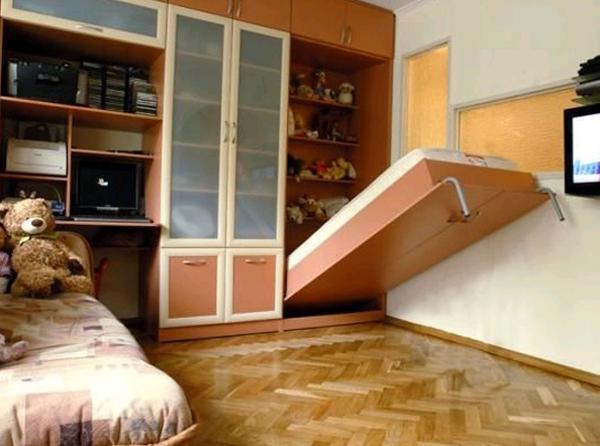 Откидная кровать в интерьере детской