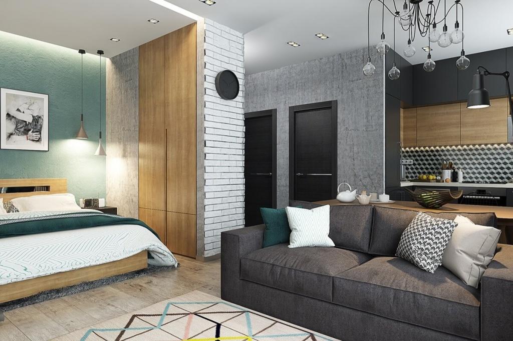 Открытая ниша для спальни в интерьере