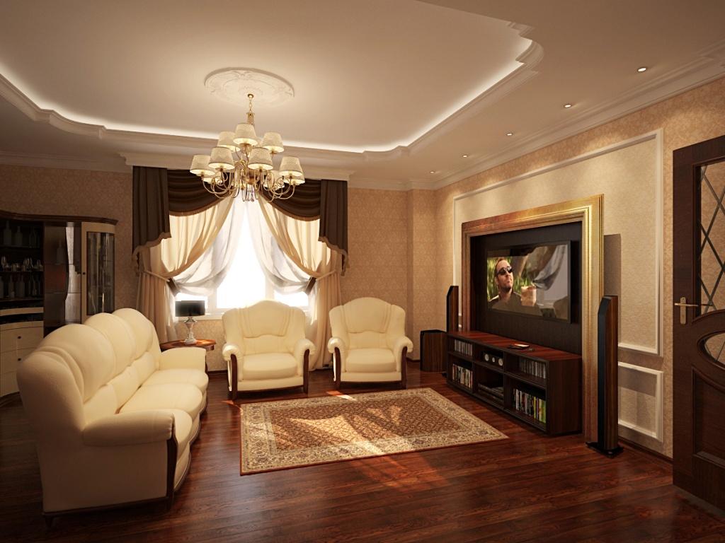 Темный ламинат в интерьере классической гостиной