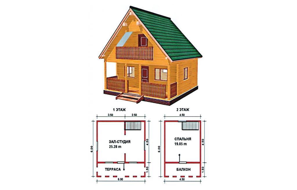 Вариант планировки двухэтажного дома с балконом