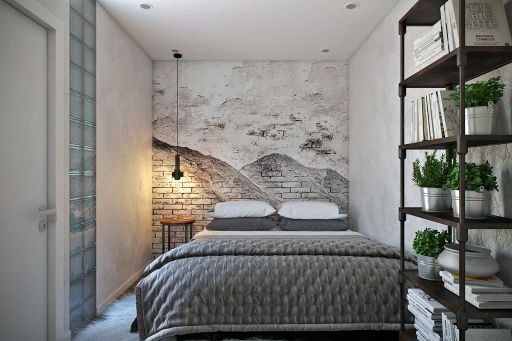 Спальня в стиле лофт с живыми растениями в интерьере