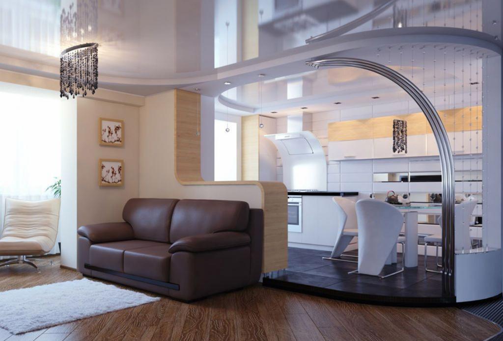 подиумная кухня, совмещённая с гостиной