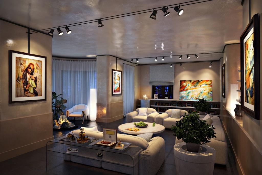 удобная система освещения в квартире-студии