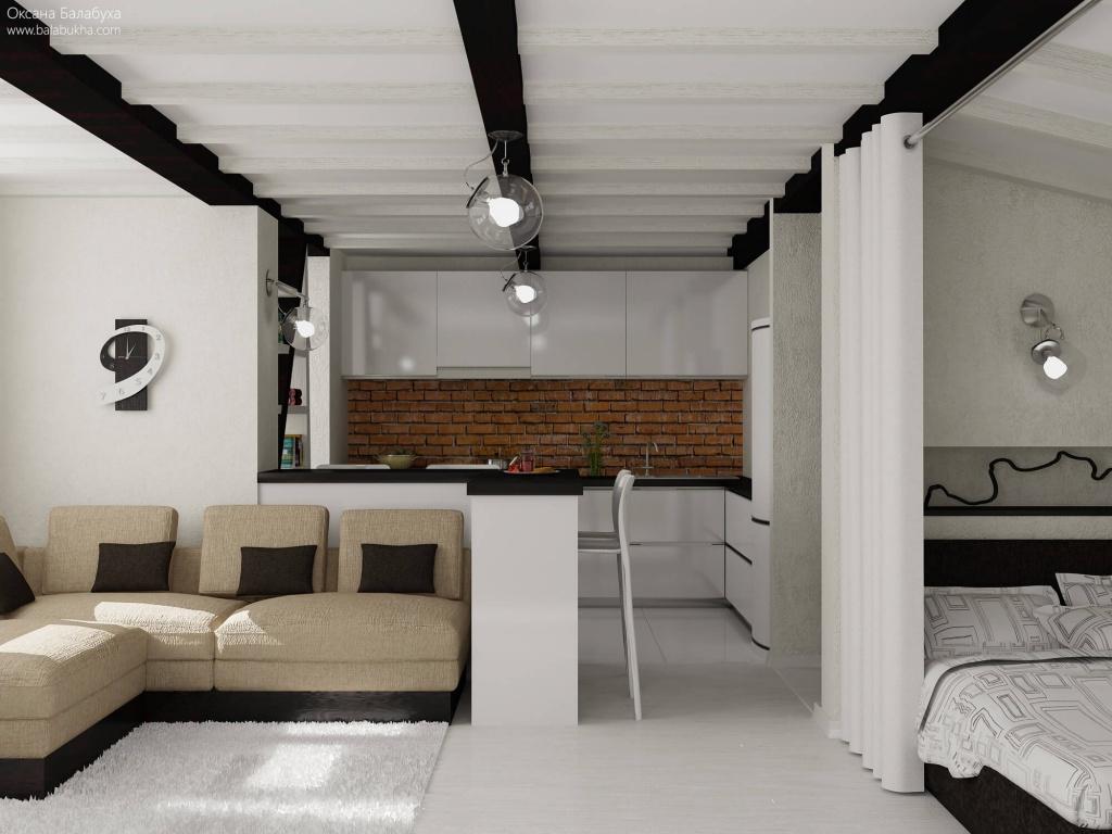 Минималистчный стиль в интерьере современной однокомнатной квартиры