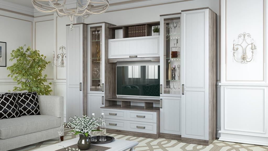 гостиная-спальня с белой мебелью и минимумом декора