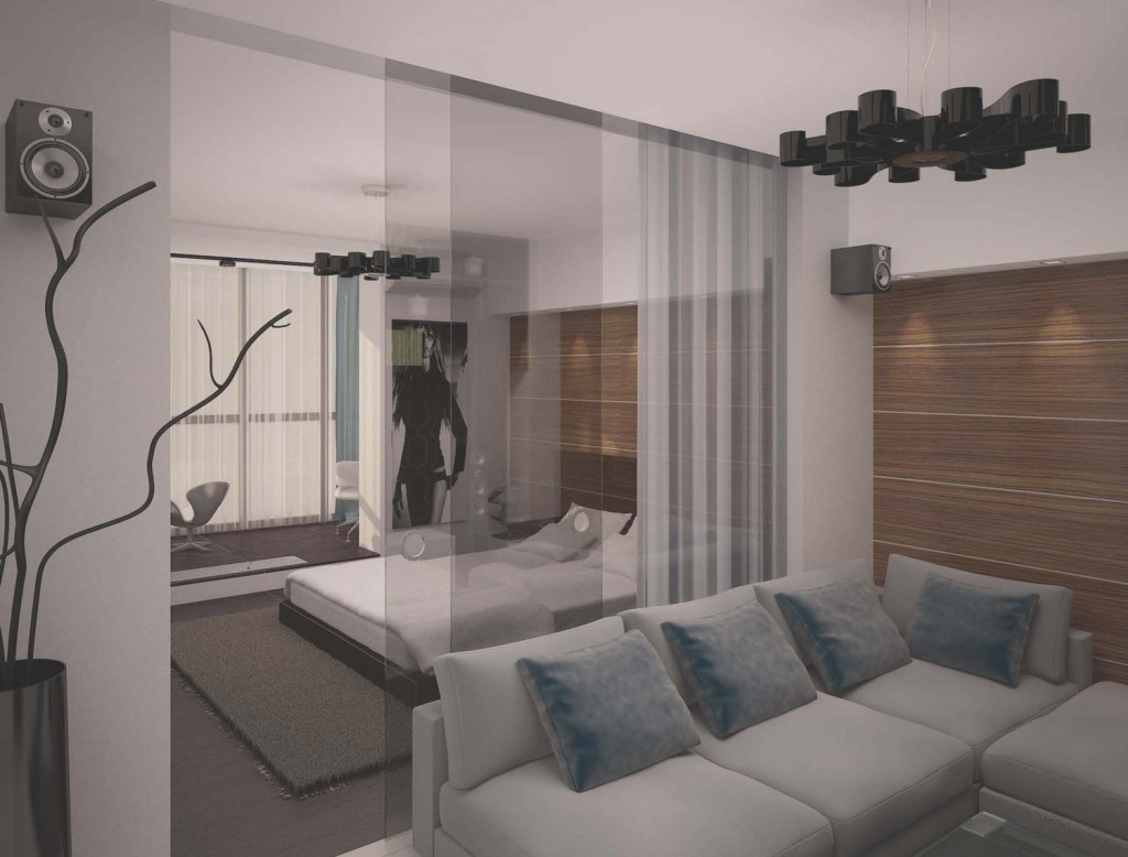 Пример разделения пространства однокомнатной квартиры