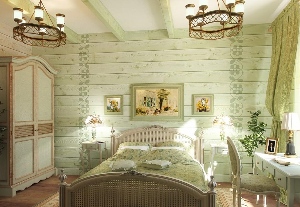 Использование зелёного оттенка спальни и декора прованс