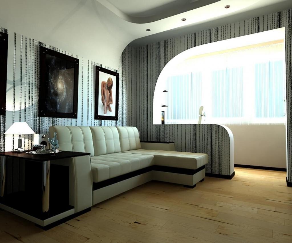 Интерьер однокомнатной квартиры с присоединенной лоджией