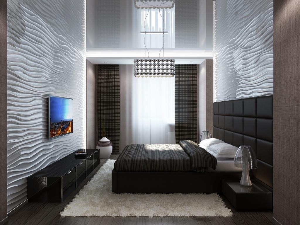 чёрно-белая спальня с акцентной стеной и яркой картиной