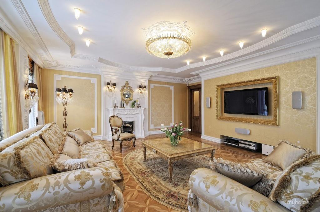 Мягкая мебель с жаккардовым рисунком хорошо подходит для интерьера классической гостиной