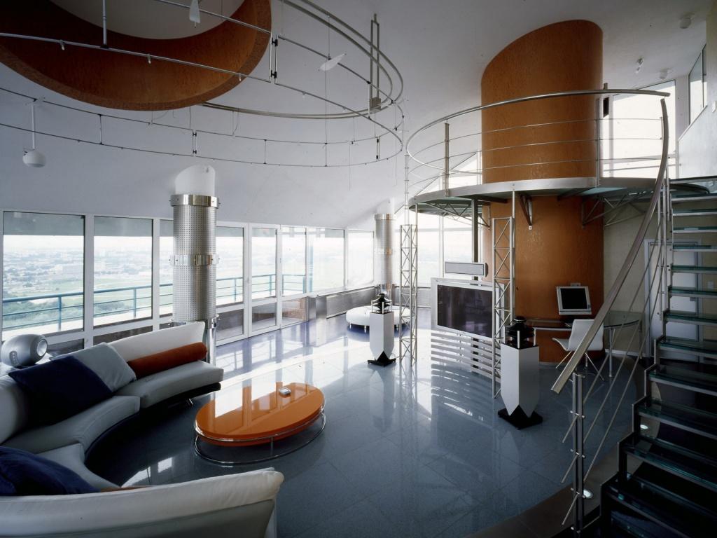 классический вариант гостиной в стиле хай-тек