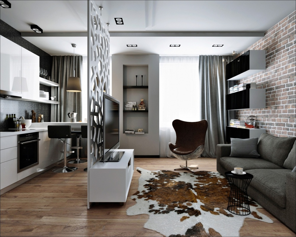 Софиты на потоке в однокомнатной квартире, выполненной в стиле минимализм