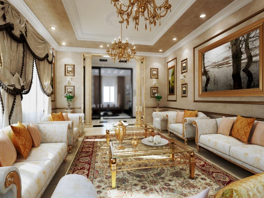 Просторная гостиная с ярко выраженной симметрией в интерьере