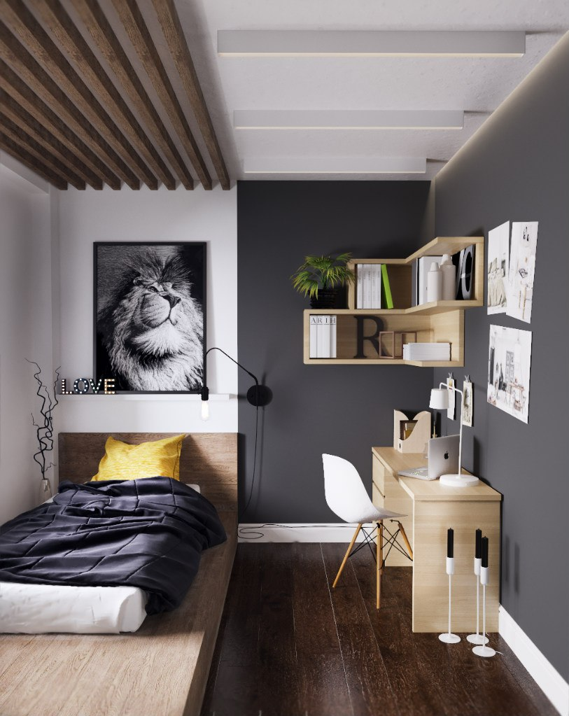 Стильный потолок в маленькой комнате