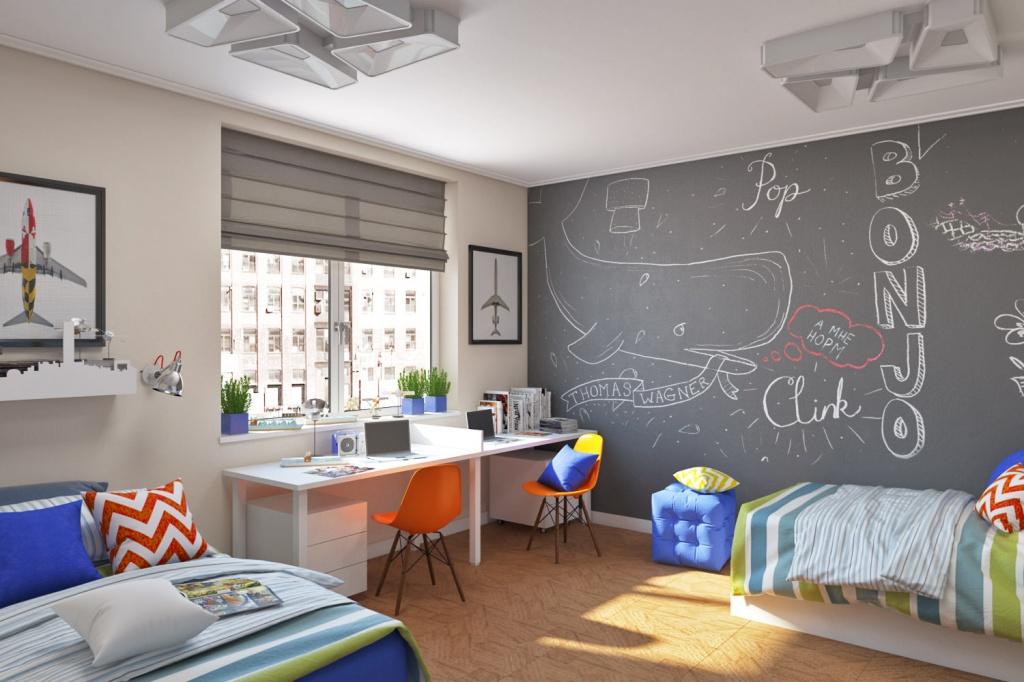 Практичный вариант оформления стены в комнате подростков