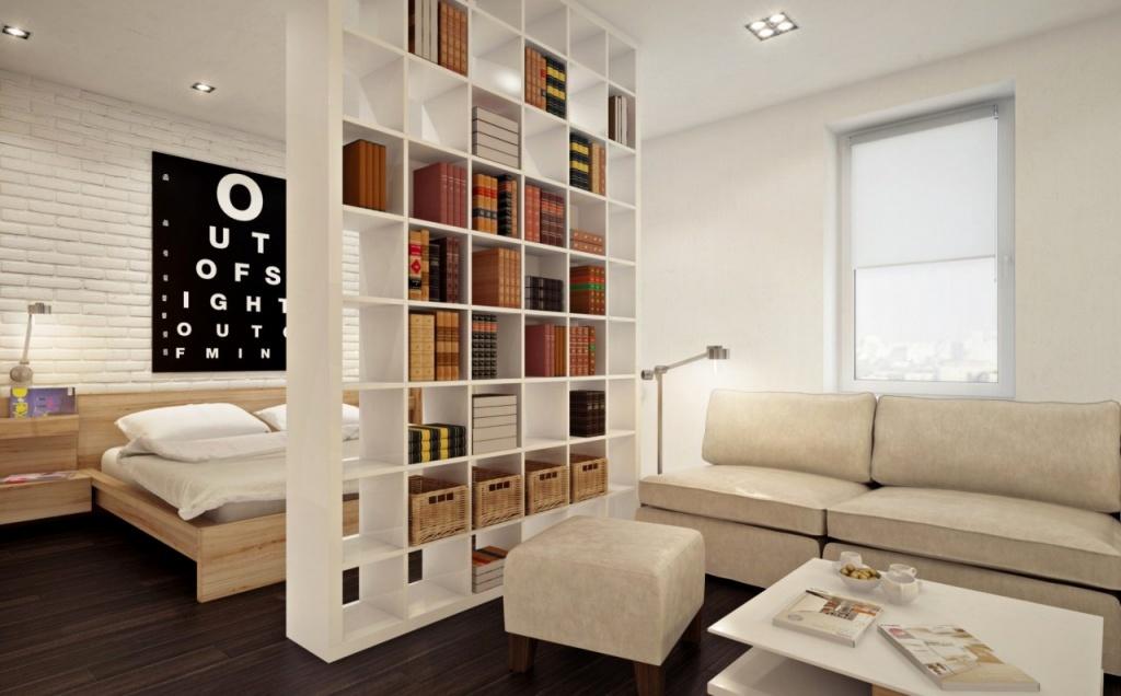 Мебельное зонирование в монохромном интерьере