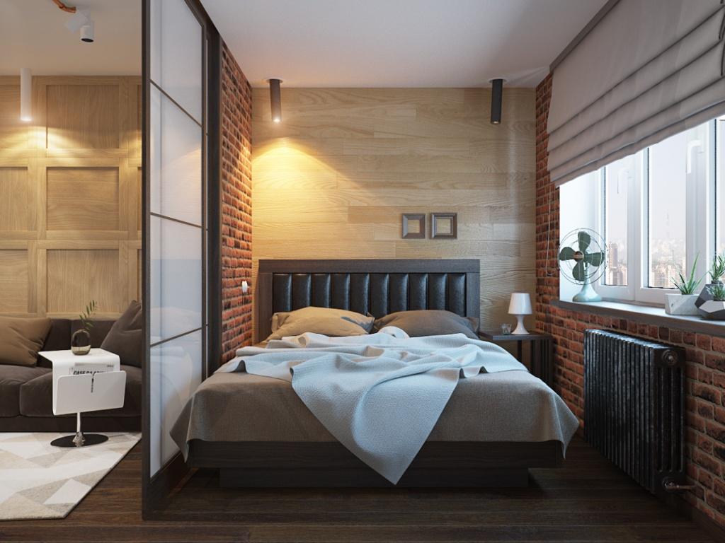 Спальня за перегородкой из матового стекла