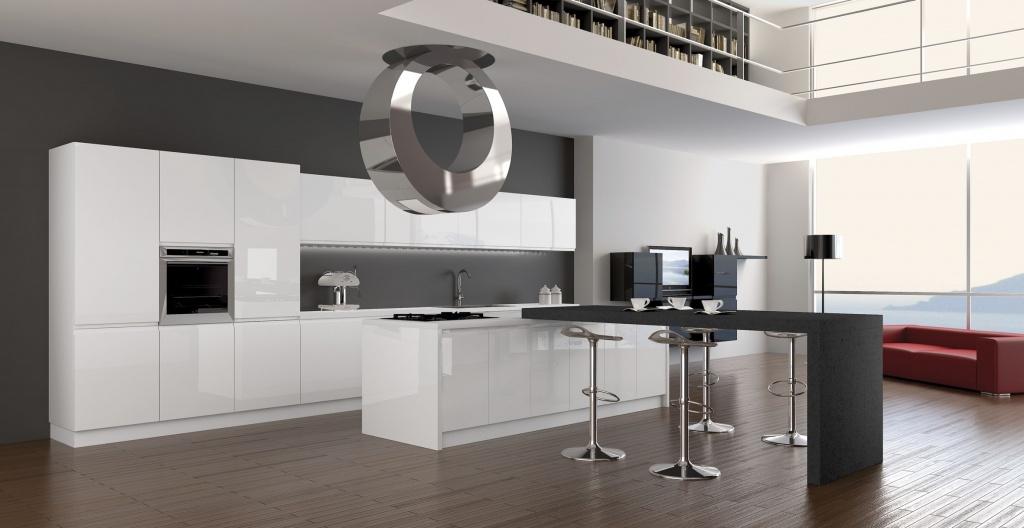 модульный гарнитур в интерьере кухни хай-тек
