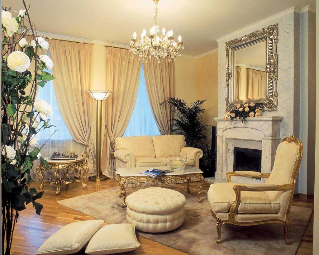 Позолота в интерьере классической гостиной