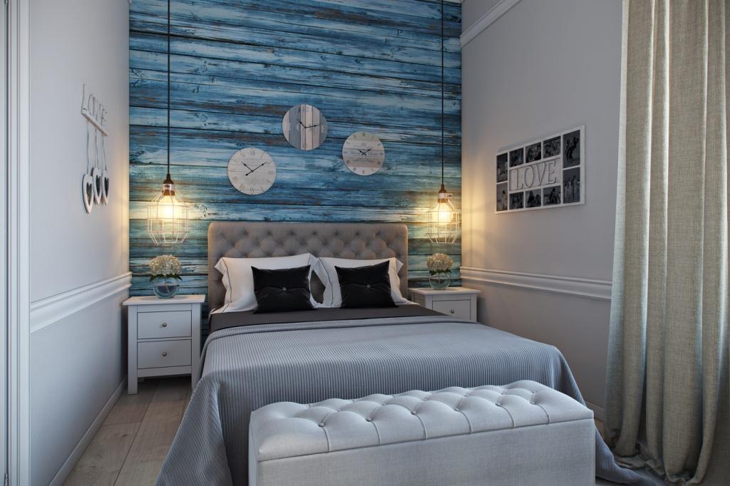 Спальня в морском стиле с классической мебелью