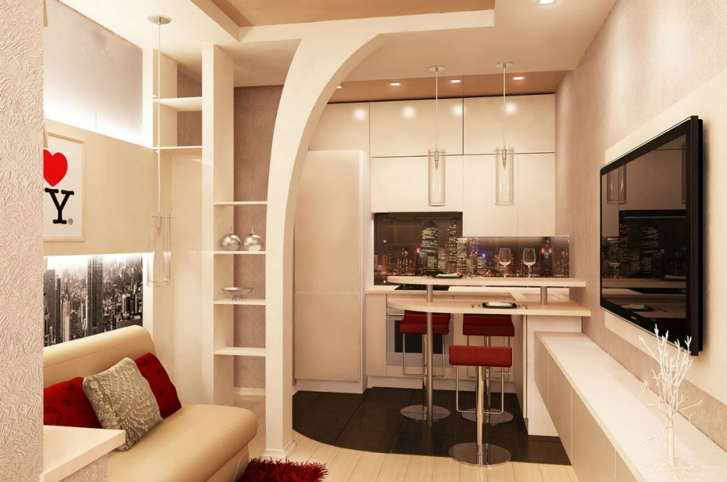 Удачное зонирование пространства в угловой квартире студии