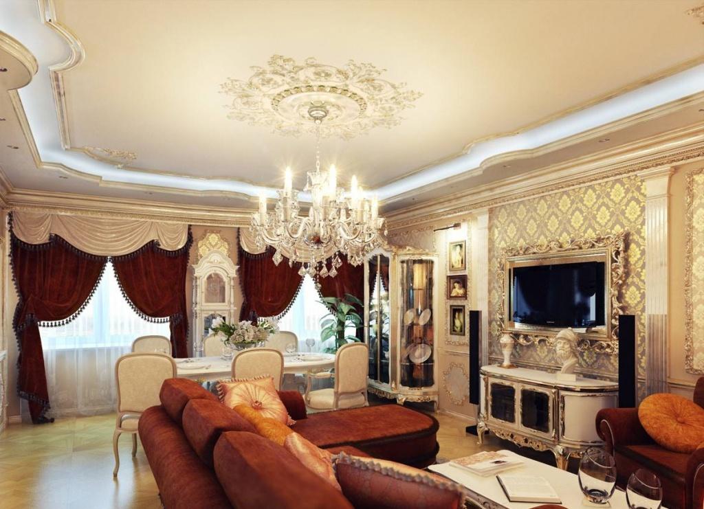 Хрустальная люстра с подвесками создает в гостиной праздничное настроение