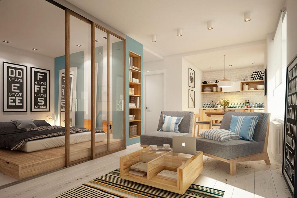 Стеклянная перегородка отделяет спальную зону от гостиной