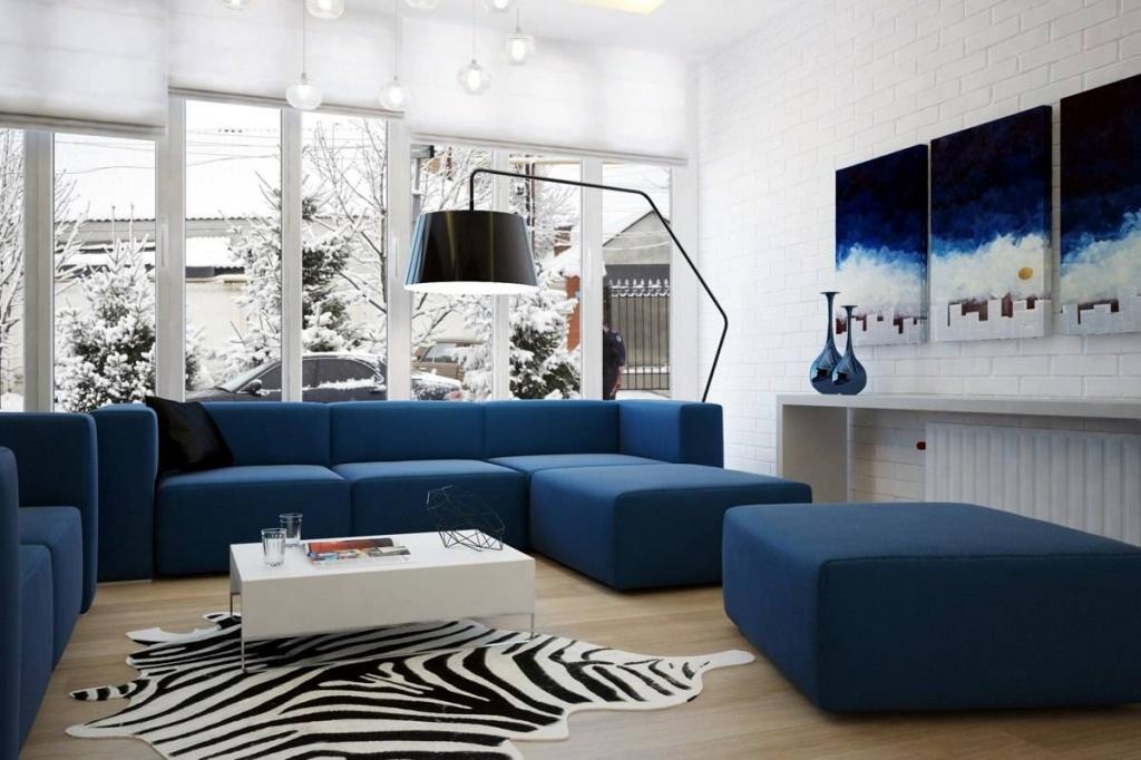 Дизайн квартиры с сине-белым цветовым решением