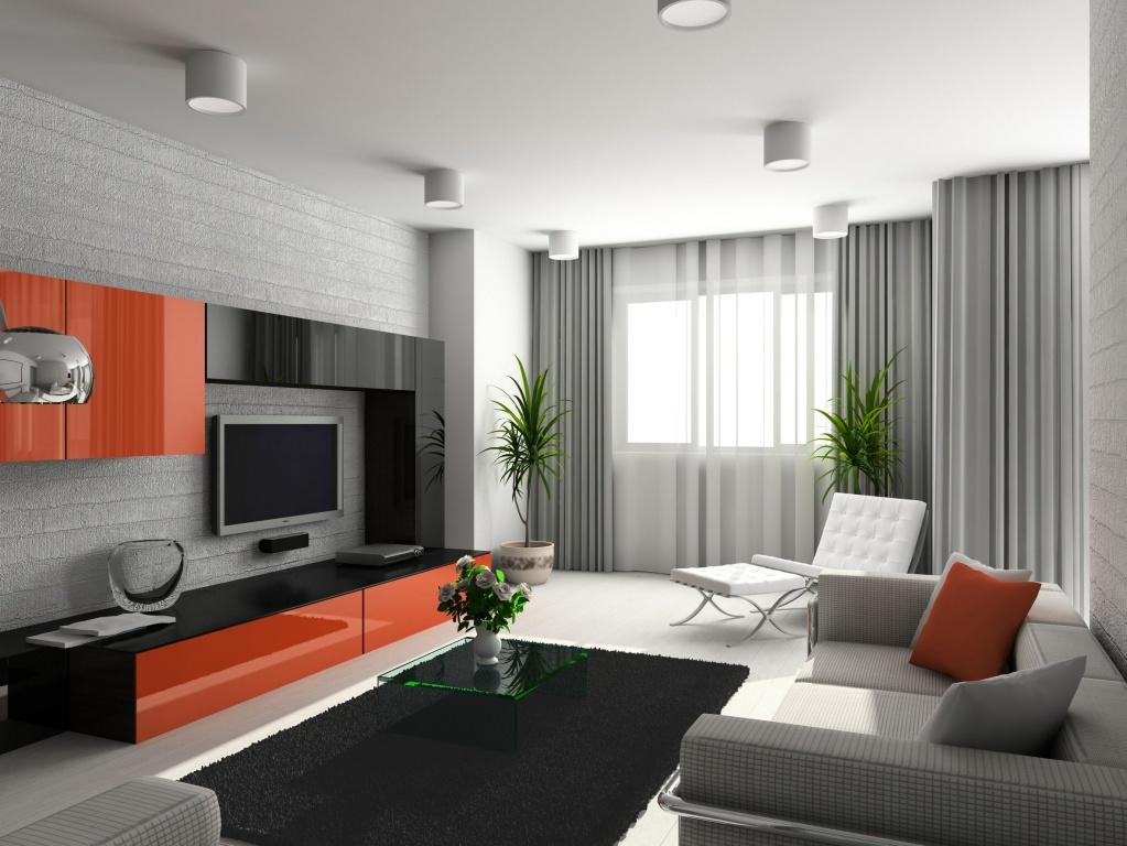 Грамотное сочетание красного, серого и красного цвета в гостиной хай-тек