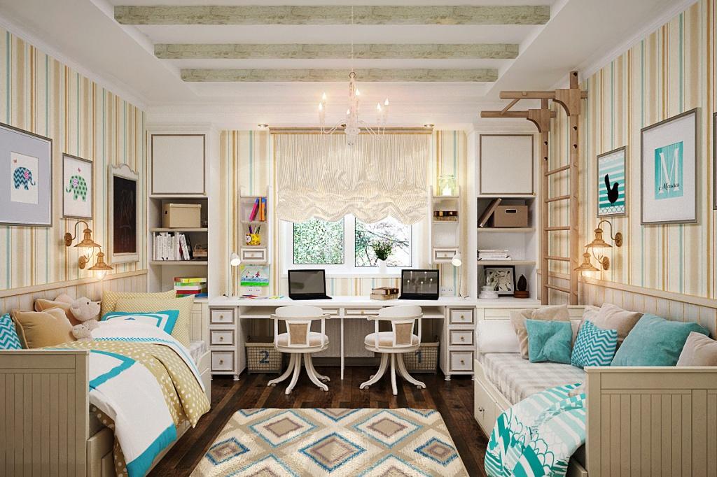Детская комната с кроватями на одном уровне