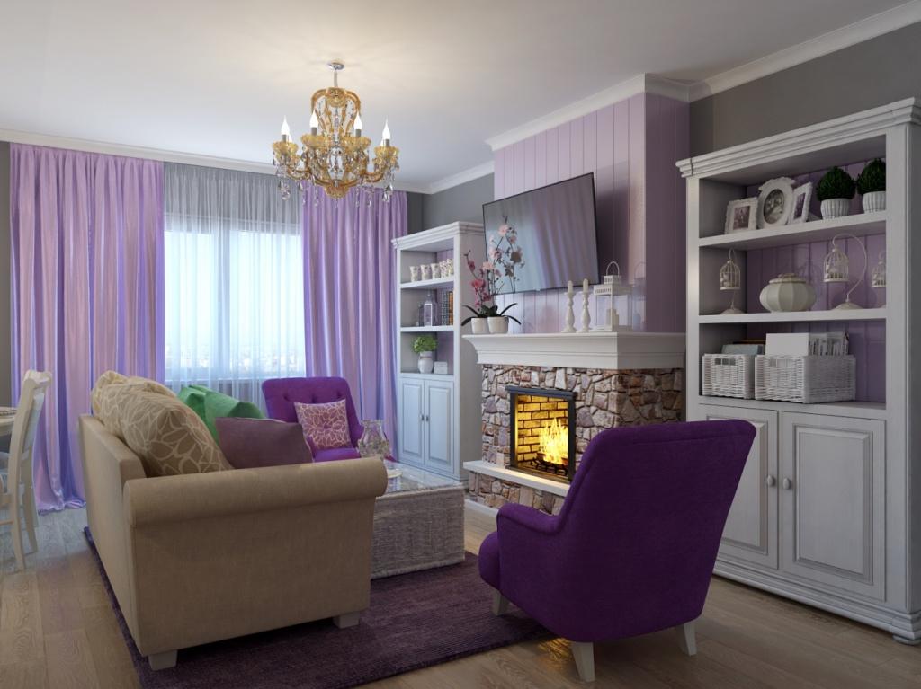 Белая гостиная стиля прованс с фиолетовыми вставками