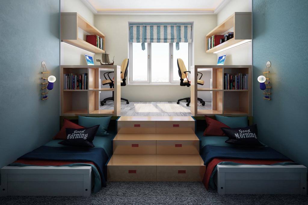 Оригинальное решение подростковой спальной зоны для двух мальчишек