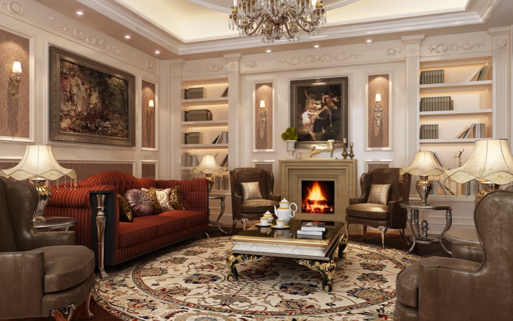 Просторная гостиная в классическом стиле