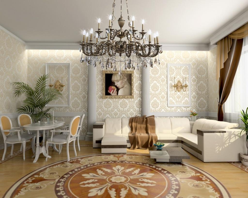 Пол в классической гостиной тоже может быть оформлен изысканным орнаментом