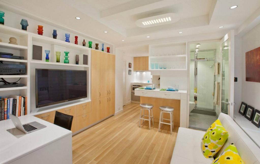 Дизайн угловой квартиры студии