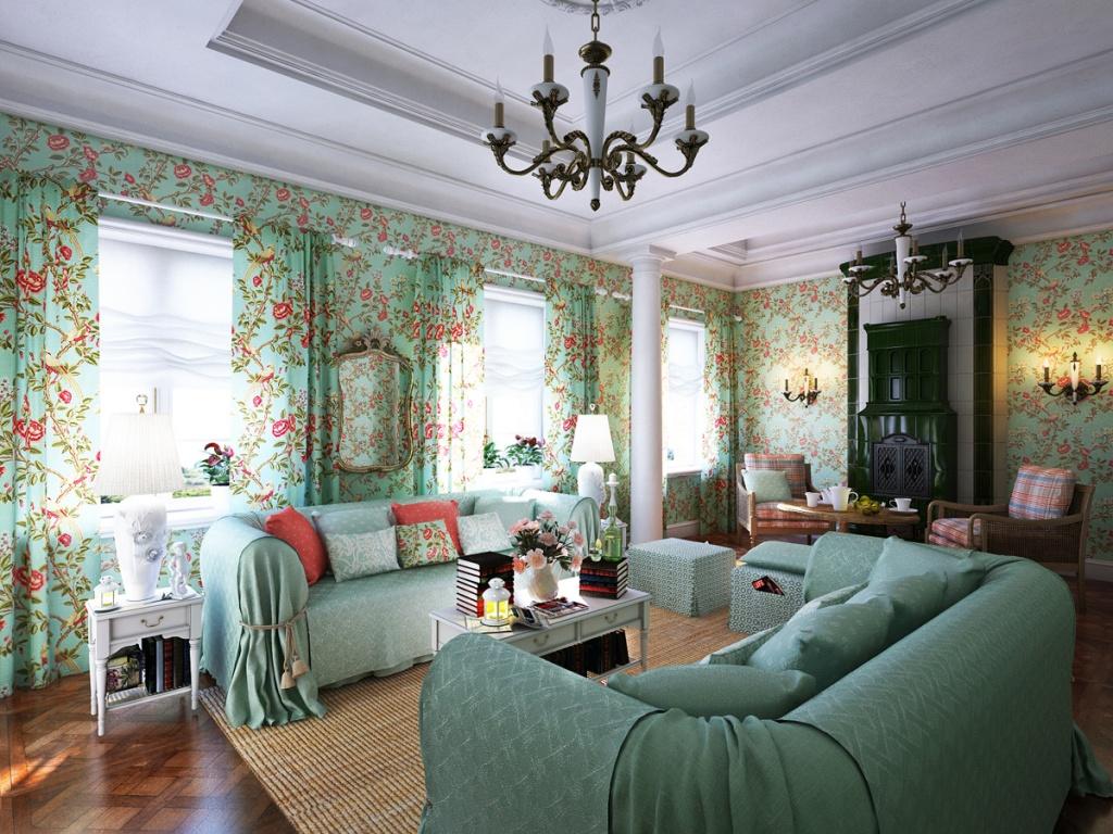 Зелёная гостиная с белыми и розовыми оттенками