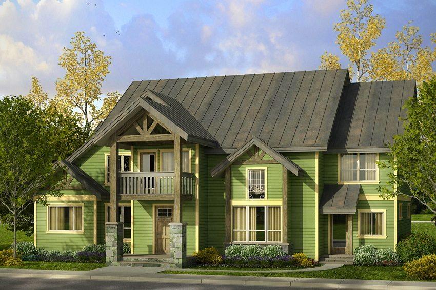 3. Зеленый цвет стен и сочетающийся с ним оттенок крыши идеально вписывает дом в окружающий ландшафт, проект в экологическом стиле.jpg