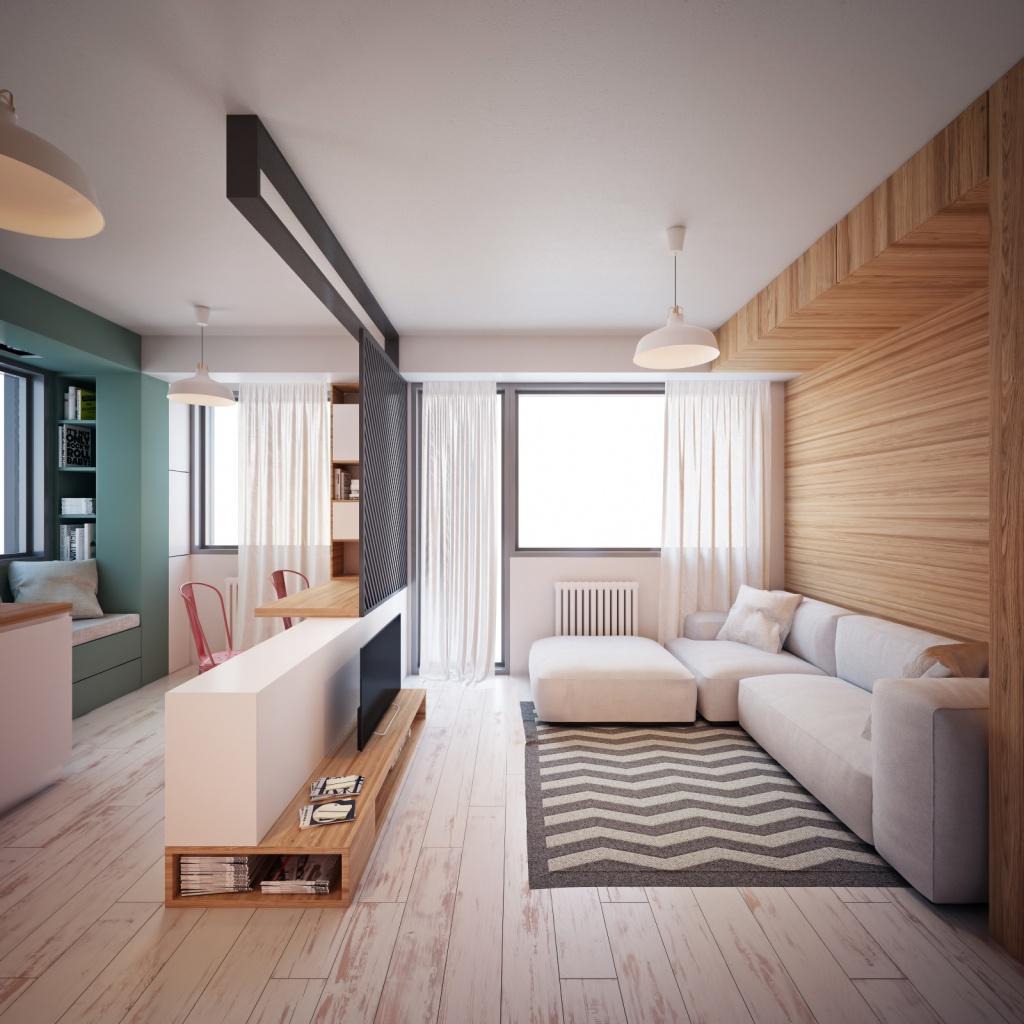 Однокомнатная квартира с минималистчным интерьером в светлых тонах