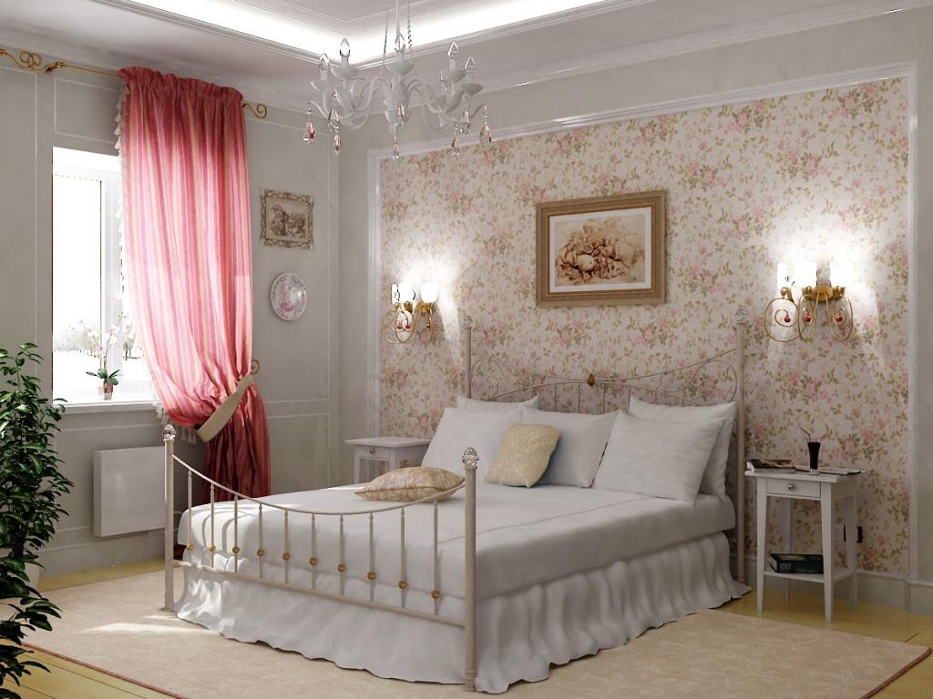 Белая спальня с акцентной цветочной стеной и яркими шторами