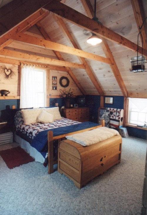 Интерьер спальни на фото оформлен в дизайне традиционного кантри — идеальное место для отдыха на природе