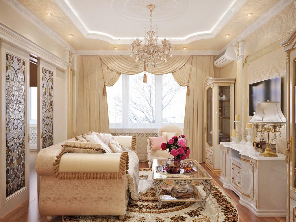 Однотонные шторы с кистями на окнах в классической гостиной