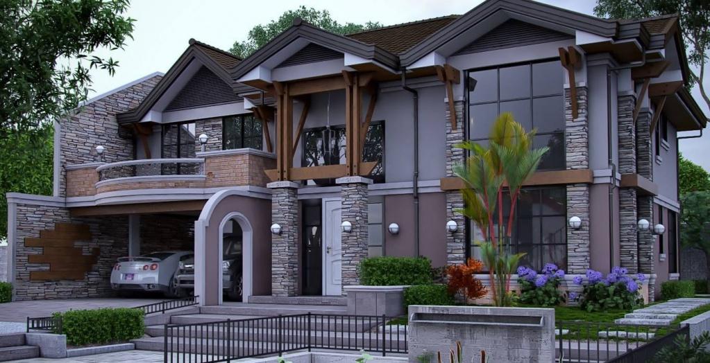 Роскошный частный особняк в основе идеи содержит явные приметы модерна, о чем напоминают фантазийные элементы отделки, смягчающие прямоугольные формы фасада