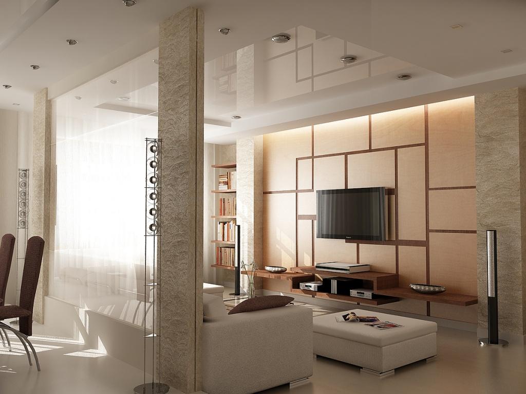 Глянцевый потолок в квартире с минималистичным дизайном