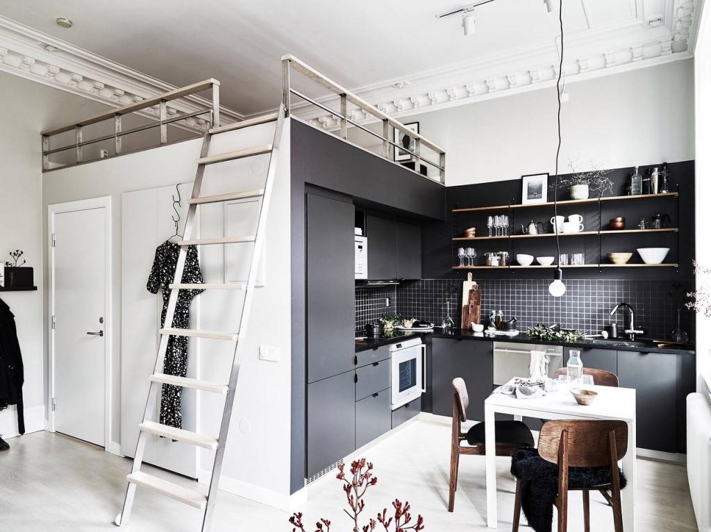 Угловая гардеробная в квартире-студии