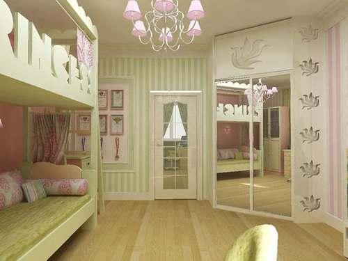 Шкаф с зеркальными дверцами в детской комнате