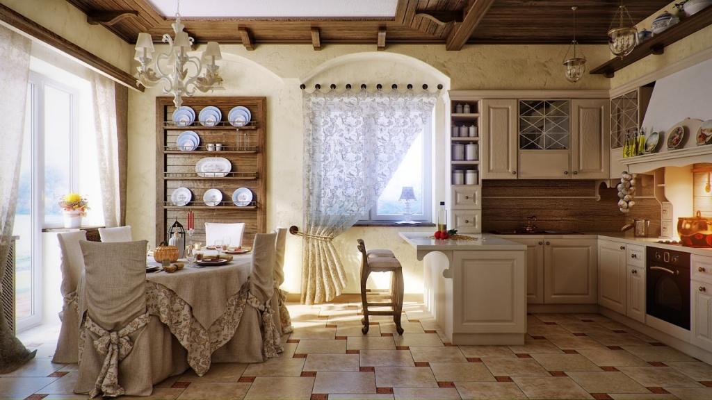 Светлая кухня с удачным декорированием